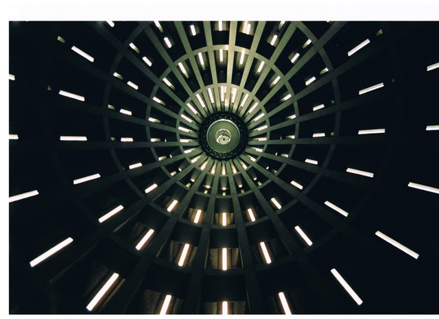 concentric windows lit up in circles